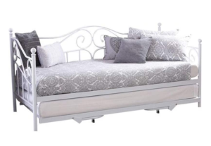 Carpet Kingdom Madison 3ft Single White Metal Day Bed With Pull-Out Trundle