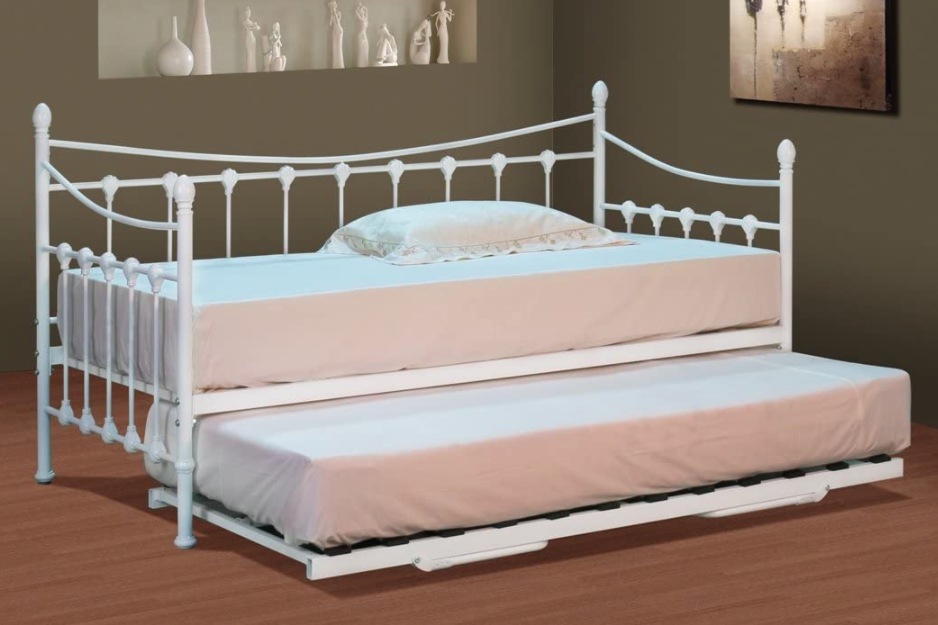 Comfy Living Classic Stunning White Metal Day Bed with Trundle and Mattresses