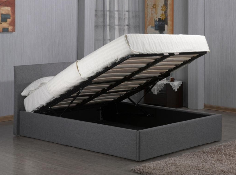 Kelsey Stores Fusion Grey Linen Fabric Ottoman Storage Bed