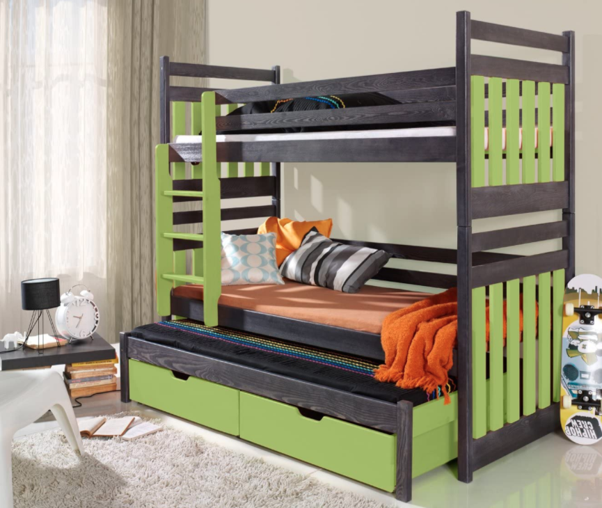 Ye Perfect Choice Triple Trundle BUNK BED with Storage